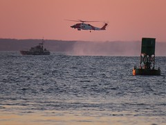Helicopter Ops (Tantivy_J) Tags: rescue usgshelicopter helicopteroperations goldenhour pinksky offshore ocean menemsha helicopterops trainingops bellbuoy coastguard usgs helicopter