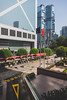 Waiting in line (hermez) Tags: admiralty hongkong china central bankofchinatower lippocentre taxi cabs waiting people street sunny flags futuristic yield stilllife hongkongisland architecture noon