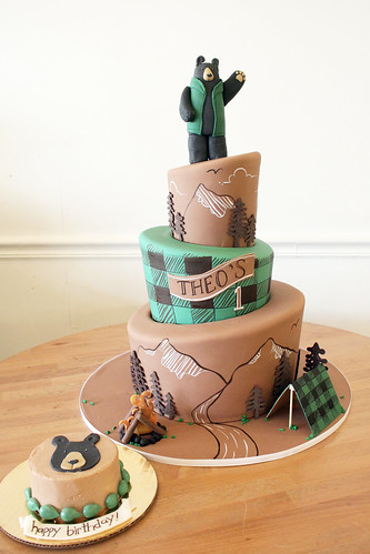 Outdoorsy 1st Birthday Cake