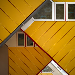 Yellow Submarine III (Alec Lux) Tags: pietblom rotterdam architecture building city cube cubism design detail details fragment fragments geometric geometry hexagon holland house houses kaleidoscope kubuswoningen netherlands structure urban water