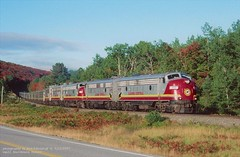 (SEE & HEAR)---AC 1755, nb3, mp22, Searchmont, ONT. 9-23-1997 (jackdk) Tags: train railroad railway locomotive acr algomacentral algoma algomacentralrailway algomacentralcorp searchmont searchmontontario tourtrain emd emdf7 emdf7a emdf9 emdfp9 passengertrain passenger train3 3 fallcolor fall seeandhear seehear