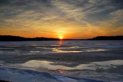 Sunset Cootes Paradise (AncasterZ) Tags: sunrise sunset cootesparadise clouds winter freeze ice lake hamilton