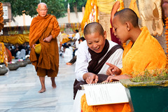 Monk and nun..    Mahabodhi Temple...India (geolis06) Tags: geolis06 asia asie inde india bihar bodhgaya mahabodhitemple mahabodhi temple bouddhisme boudha buddha unescoworldheritage unesco patrimoinemondialunesco inde2017 pilgrim pélerin moine monk prière prayer devotion dévotion bodhi bodhitree olympuscamera olympus nun buddhism buddhist