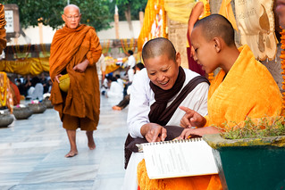 Monk and nun..    Mahabodhi Temple...India