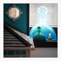 le parfum du turquoise (overthemoon) Tags: utata:project=ip258 square frame dollshouse verandaroof angle oculus bottles turquoise green miniatureperfumebottle windowsill window utata:project=square