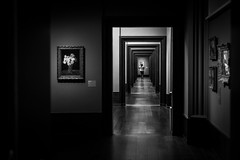 gallery of many doors / framing the visitors (Özgür Gürgey) Tags: 2017 50mm bw d750 genesis hamburg hamburgerkunsthalle nikon thechamberof32doors architecture dark doors frames hall indoor people repetition