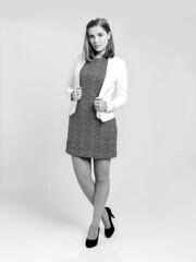 Hannah (diekoetter_fotografie) Tags: studio business fashion studiophotography black white blackandwhite girl clean dress pumps shorthair