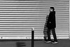 Along the rails (pascalcolin1) Tags: paris13 homme man rails volet photoderue streetview urbanarte noiretblanc blackandwhite photopascalcolin 50mm canon50mm canon