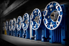 Gearboxes (SawardPhotography) Tags: gear gearbox blue black white elsto emce flange fitting industrial workshop factory winch motor shaft socket sprocket connection rotor rotate turn shelf stock