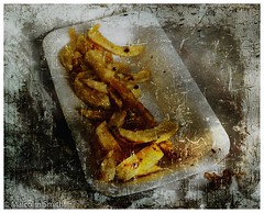 Chips (M C Smith) Tags: chips vinegar tray abstract pentax istd white yellow brown black distressed faded