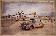 1955 Studebaker President Speedster with F-4 Phantom jet at Palm Springs Air Museum. #palmsprings #palmspringsairmuseum #studebaker #f4phantom #waterlogue #snapseed #distressedfx #stackables #formulasapp #retro #texture #textures #artistry_flair (harrysonpics) Tags: palmsprings palmspringsairmuseum studebaker f4phantom waterlogue snapseed distressedfx stackables formulasapp retro texture textures artistryflair