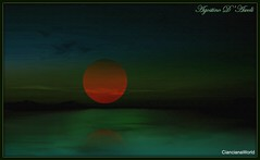 Sul verde mare - Gennaio-2018 (agostinodascoli) Tags: luna mare cielo agostinodascoli paesaggi nature texture landscape photoshop riflesso