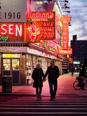 Surf Avenue (deepaqua) Tags: brooklyn night neon bicycle offseason winter coneyisland restaurant street bluehour hotdog storefront evening sign dusk