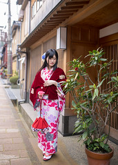 Young woman in kimono going out from ryokan, Japanese style hote (Apricot Cafe) Tags: img25886 asia asianandindianethnicities higashichayamachi ishikawaprefecture japan japaneseethnicity japaneseculture kanazawa kimono sigma35mmf14dghsmart artscultureandentertainment bag buildingexterior charming cheerful citylife cultures day enjoyment fashion freedom freshness fulllength hairaccessory happiness hotel lifestyles longhair nature oldfashioned oneperson onlywomen outdoors photography relaxation ryokan shopping shoppingstreet smiling springtime straighthair street tourism tradition traditionalclothing tranquility travel traveldestinations walking weekendactivities women youngadult