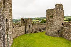 Kidwelly Castle outer ward and curtain wall (Keith in Exeter) Tags: kidwelly castle carmarthenshire wales fort architecture building stonework wall tower turret grass landscape