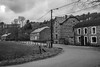 Maisons typiquement d'Ardennes (RIch-ART In PIXELS) Tags: lesse redu ardennes belgique belgium blackandwhite monochrome house sky leicadlux6 leica dlux6 road grass building tree blanc noir black white