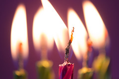 Come on baby... (alideniese) Tags: macromondays flame macro closeup bokeh candles birthdaycandles fire heat wick burning hot redhot bright colour colourful purple pink green alideniese 7dwf freetheme happy five shiny