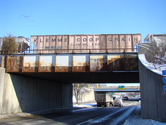 The Ohio State University (dankeck) Tags: laneavenue klemmecoopgrain train car iowa bridge migrating birds v formation winter snow franklincounty centralohio ohio columbus osu ohiostate theohiostateuniversity rust rusty 315