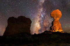 The Milky Way and Balanced Rock (NickSouvall) Tags: balanced rock rocky arch arches national park system moab utah desert southwest landscape red orange rocks geology milky way galaxy astro astrophotography night nightscape clear sky purple blue stars stary star photo photography nature wild wilderness hike adventure warm light painting painted