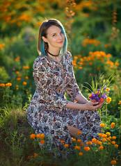 Portrait in globeflowers field (realscorp) Tags: sonya7ii carlzeiss802004 bokehrama brenizer brenizermethod