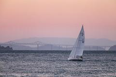 sunset sail and Richmond Bridge (Matthew Almon Roth) Tags: sanfrancisco bayarea sfbayarea richmondbridge sailing sunset pink