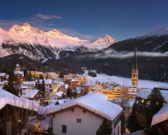 Aerial View of St Moritz in the Evening, Switzerland (ansharphoto) Tags: alpine alps architecture beautiful blue building church city cityscape dusk europe european evening glacier history holiday house iconic illuminated lake landmark landscape lights moritz mountain mountains night resort scene scenic ski sky skyline snow snowscape snowy st suisse swiss switzerland tower town travel twilight vacation valley view village white winter