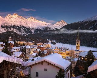 Aerial View of St Moritz in the Evening, Switzerland