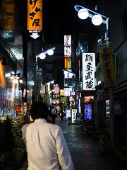 Tokyo 06 (arsamie) Tags: tokyo japan alley street urban neaon lights man walk clairobscur back night city town center