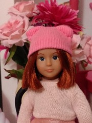 Pretty in pink (Zoetrope6) Tags: doll pink hat loridoll minidoll americangirl ourgeneration battat toy ginger redhead bob shorthair flowers sewing handmade