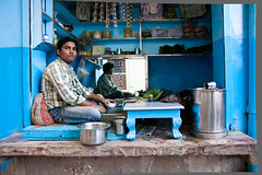 Blue Paan shop (Dick Verton ( more than 12.000.000 visitors )) Tags: blue paanshop man sittingstreetpicture varanasi india asia traveling people sit sitting seated