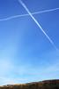 Gullane saltire (Niall Corbet) Tags: scotland eastlothian gullane sky vapourtrail blue cross saltire standrew