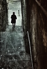 The Thirty Nine Steps (The Green Album) Tags: bath city urban steps man parisian dapper dressed hat detective alleyway corridor railing atmospheric fujifilm xt2