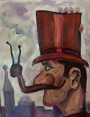 Moustache à l'escargot, latest version (The Big Jiggety) Tags: oil canvas art arte kunst humor humour moustache escargot michael kent profile portrait retrato hat tophat hautdeforme