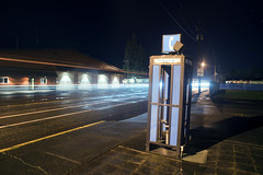Phone Booth (Curtis Gregory Perry) Tags: halsey oregon phone booth night highway 99e long exposure telephone traffic trail car nikon d810 24mm f2