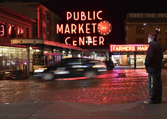 Public Market Center (papajoesm) Tags: seattle washington pikeplacemarket red night light january neon market