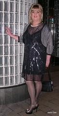 LFF020218 (janegeetgirl2) Tags: transvestite crossdresser crossdressing tgirl tv ts heels glamour slip black chiffon dress stilettos high seams jane gee lff leeds first friday shrug makeover wig