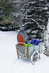 yesterday the snow was gone in 56* weather. Today, well, that's Michigan (TAC.Photography) Tags: sled shovel winter