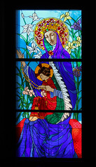 Crowned with Roses (Lawrence OP) Tags: columbus ohio dominicans stainedglass ourladyoftherosary jesuschrist blessedvirginmary roses flowers irises lilies