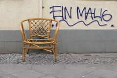 Please take a seat #619 (österreich_ungern) Tags: korbstuhl broken 44 abandoned müll decay neukölln berlin collection facade gafitti einmalig frontal urban battered grey beige brown pipe serie seat chair wicker unique