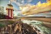 Hornby Lighthouse, warm sunset, 1500px (Luke Zeme Photography) Tags: yellow lighthouse sydney sydneyharbour nationalpark beach newsouthwales hornby hornbylighthouse nsw sunset orange sea waves longexposure australia sony 1424 macphun luminar