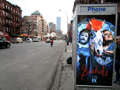 Baskets TV poster billboard Public Phone Booth 6131 (Brechtbug) Tags: baskets starring zach galifianakis louie anderson tv poster billboard phone booth 9th ave west side zmanhattan fx channel new comedy premieres tuesday january 23rd 10 pm nyc 2018 york city ad advertisement ads clown rodeo horse french humor