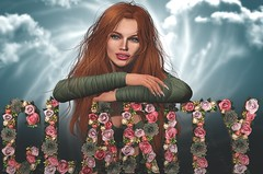 Clarity (Arwen Clarity) Tags: secondlife second life 2life 2nd avi avitar mesh clarity flowers pose redhead ginger freckles green