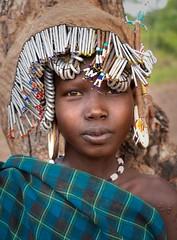 Mursi Girl (Rod Waddington) Tags: africa african afrique afrika äthiopien ethiopia ethiopian ethnic etiopia ethnicity ethiopie etiopian omovalley omo outdoor omoriver girl mursi tribe traditional tribal tree beads portrait people