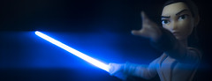 The only fight, against the dark side (tomtommilton) Tags: toy toyphotography macro lightpainting lensflare anamorphic filter glow blue starwars rey lightsaber disney toybox cinematic movie actionfigure
