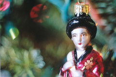 Holiday Maiko (Jetcraftsofa) Tags: nikonf3 vivitar5528macro sb24speedlight portra160 35mm slr filmphotography maiko holidays bokeh ornament pine newyear flashphotography