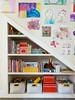 Shelves Under Stairs (Heath & the B.L.T. boys) Tags: organize stairs shelves toys art