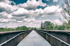 Crossing (*Capture the Moment*) Tags: 2017 berlin bridge bridgeconstruction brücke clouds farbdominanz gardenexhibition gartenschau himmel marzahn sky wolken analog analogue blau blue