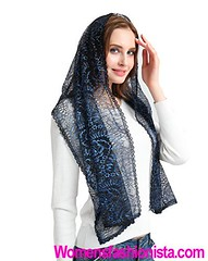 Catholic Chapel Veil for church lace scarf with golden thread infinity veils V26 (Navy) (womensfashionista) Tags: catholic chapel church golden infinity lace navy scarf thread v26 veil veils