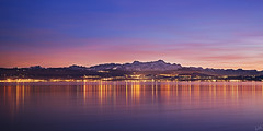 Blue Hour at Lake Constance (johaennesy) Tags: lakeconstance bodensee badenwürttemberg friedrichshafen opensourcesoftware gimp germany rawtherapee panorama 21 2to1 longexposure colourfull blue evening landscape