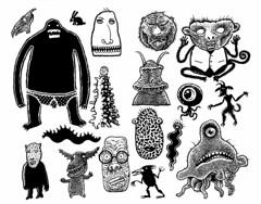 Yesterday's monsters (Don Moyer) Tags: monster creature ink drawing moleskine notebook moyer donmoyer brushpen